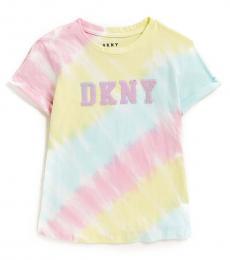 DKNY Girls Multicolor Tie-Dye Sequin Logo T-Shirt