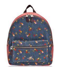 Coach Denim Charlie Cherry Print Medium Backpack