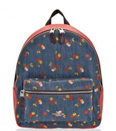 Coach Denim Charlie Cherry Print Medium Backpack