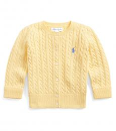 Ralph Lauren Baby Girls Butter Cream Cable-Knit Cardigan