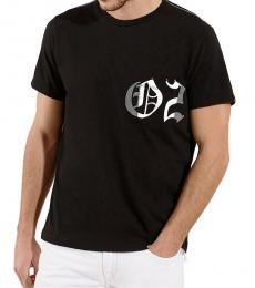 Black Printed Logo Tee