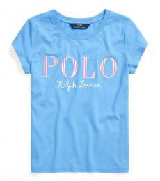 Ralph Lauren Girls Harbor Island Blue Logo T-Shirt
