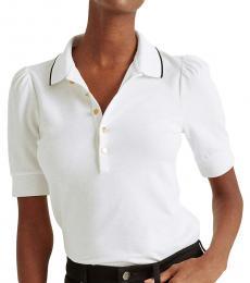 Ralph Lauren White Pique Puff-Sleeve Polo Shirt
