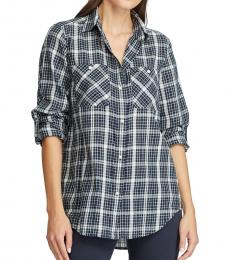 Ralph Lauren Lauren Navy Plaid Cotton Twill Shirt