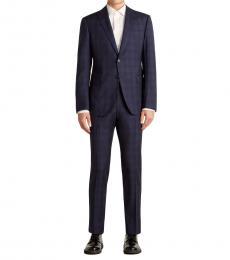 Emporio Armani Dark Blue Tonal Check Peak Suit