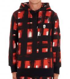 Maroon Check Hooded Sweatshirt