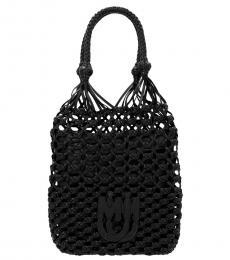 Miu Miu Black Mesh Medium Bucket Bag