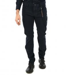 Dark Blue Stretch Cotton Pants