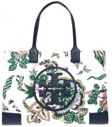 Tory Burch White Ella Floral Large Tote
