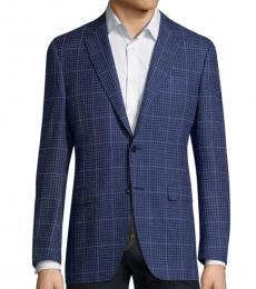 Canali Blue Windowpane Wool Coat
