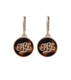 Gold-Brown Logo Drop Statement Earrings