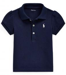 Ralph Lauren Baby Girls French Navy Puff-Sleeve Polo