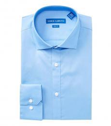 Light Blue Solid Slim Fit Dress Shirt