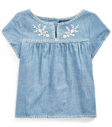 Little Girls Indigo Embroidered Chambray Top