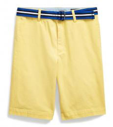 Ralph Lauren Boys Oasis Yellow Slim Fit Belted Chino Shorts