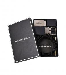 Michael Kors Black-Brown Two Buckle Reversible Logo Belt