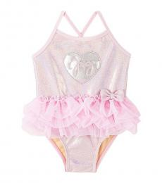 Juicy Couture Baby Girls Pink Silver Heart One-Piece Swimsuit
