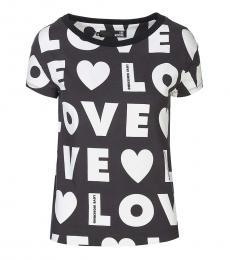 Love Moschino Black Allover Logo Print Tee