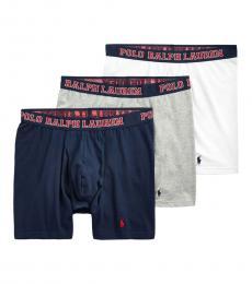 Ralph Lauren White Grey Navy 3-Pack Boxer Briefs