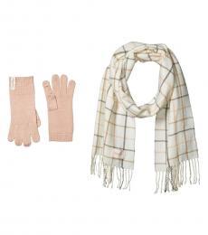 Calvin Klein Eggshell Plaid Woven Scarf and Gloves Set