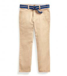 Little Boys Khaki Belted Skinny Chinos