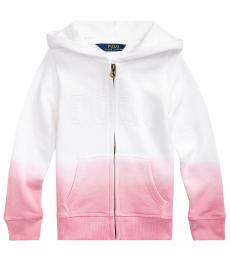 Little Girls White Dip-Dyed French Terry Hoodie