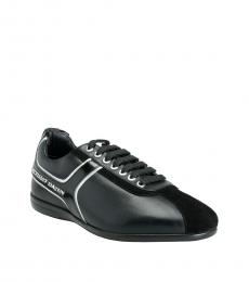 Versace Collection Black Leather Sneakers