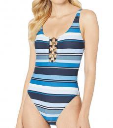 Michael Kors Navy Blue Striped One-Piece Suit