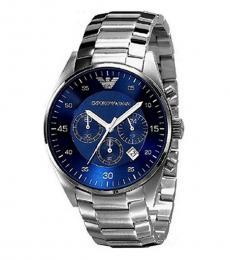 Emporio Armani Silver-Blue Chronograph Watch