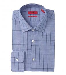 Hugo Boss Navy Blue Check Sharp Fit Dress Shirt