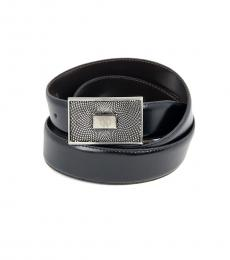 Roberto Cavalli Black Reversible Logo Leather Belt