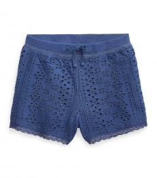 Ralph Lauren Baby Girls Federal Blue Eyelet Lace Shorts