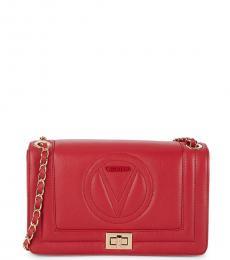 Mario Valentino Red Alice Quilted Chain Medium Shoulder Bag
