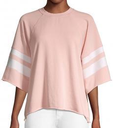 Betsey Johnson Peach Oversized-Sleeve Terry Sweatshirt