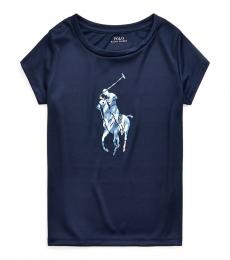Ralph Lauren Little Girls French Navy Tie-Dye-Pony Interlock T-Shirt