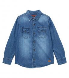 7 For All Mankind Boys Deepend Indigo Denim Shirt
