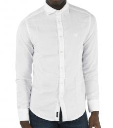 Armani Jeans White Cotton Pique Shirt