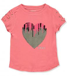 DKNY Little Girls Pink Flip Sequin Heart Top