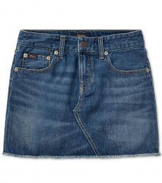 Ralph Lauren Little Girls Bales Wash Denim Cotton Skirt
