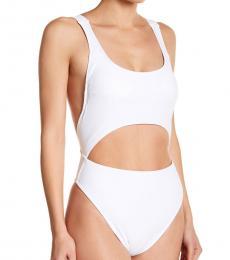Rachel Roy White Cutout One-Piece Swimsuit
