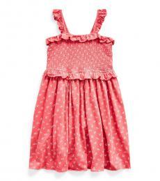 Ralph Lauren Girls Medium Red Floral Smocked Dress