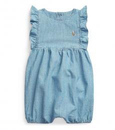 Ralph Lauren Baby Girls Indigo Bubble Shortall