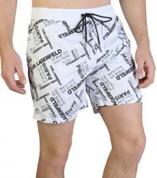 Karl Lagerfeld White Allover Logo Swimwear