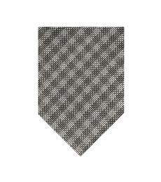 Tom Ford Grey Silver Check Plaids Tie