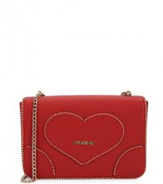Red Studded Large Crossbody Bag