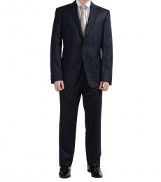 Versace Collection Blue Wool Striped Suit