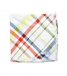 Coach White Tattersall Plaid Scarf