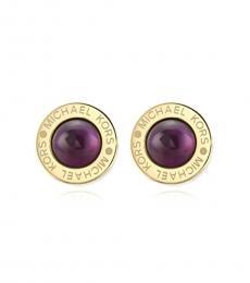 Michael Kors Gold-Purple Logo Stud Earrings