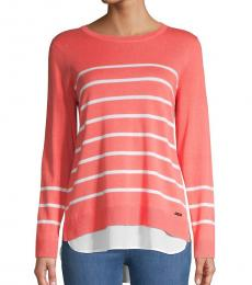 Calvin Klein Porcelain Rose Striped Twofer Sweater