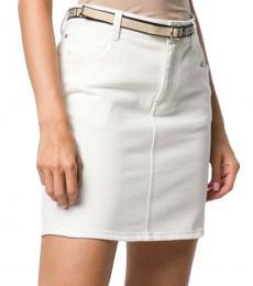 White White Belted Denim Skirt